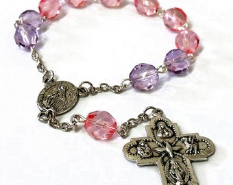 Pink and Purple Glass Chaplet
