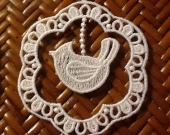 Lace Ornament Embroidered  - White - Free Swinging Bird - SunCatcher