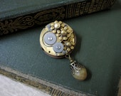 Steampunk Pin, Steampunk Brooch, Gears, Vintage Watch Movement, Upcycled Watch Parts, Recycled, Flower Pin, Floral Pin, One of a Kind, OOAK