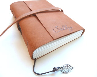 Personalised Leather Journal, Copper Brown