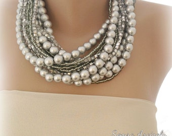 Chunky Pearl Necklace , chunky bold bridal Silver Necklace Brides Bridesmaids gifts