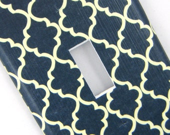 Quatrefoil Light Switch Cover Switchplate -- Navy and Cream