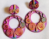 Purple Vintage 1980's Wooden Purple, Blue, & Gold Abstract Big Post Earrings-Totally Awesome