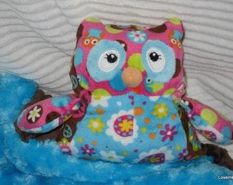 Security Blanket, baby blanket, luvi, lovie - Owl lovems