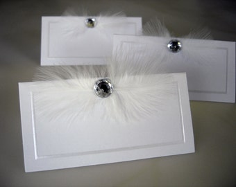 Angel Rhinestone and Feather Seating Cards