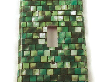 Light Switch Cover Wall Decor Switchplate Cover  Single Switch Plate in Green Tiles (198S)