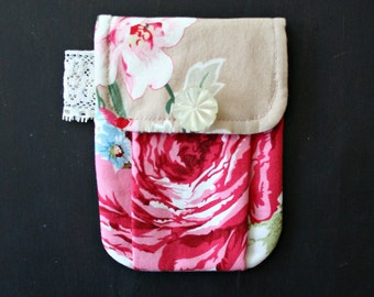 Little Pleated Pouch Case Red Roses Cottage Chic