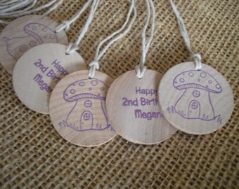 Party Favor Tags Personalized Wood Princess Fairy Circles - Set of 10 - Item 1548