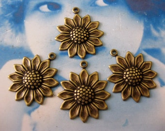 Brass Ox Plated Charming Sunflower Charms 281BOX x2