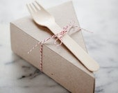 DELUXE Lidded Pie Slice Boxes in Kraft with Forks, Parchment + Classic Baker's Twine
