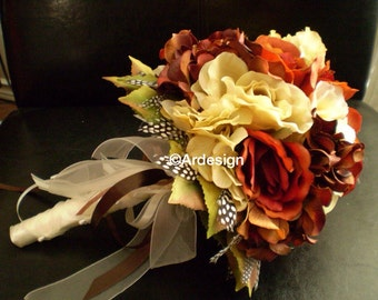 RUSTIC SPLENDOR Wedding Bouquet And Boutonniere With Guinea Feathers