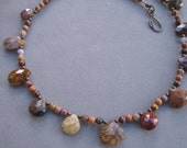 Rare Semiprecious Stone Necklace, Pietersite Necklace, Gem Stone Teardrop Necklace -NUTMEG