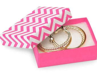 100 Pack of 2.5X1.5X1 Inch Size Pink Chevron Cotton Filled Jewelry Gift Merchandise Boxes