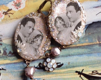Lilygrace Romantic Couple Cameo Earrings with Vintage Rhinestones and Freshwater Pearls