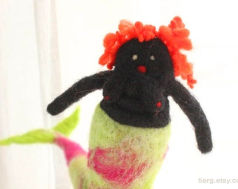 Needle felted mermaid doll redhead with fuchsia and green tail