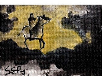 Mini ink painting on canvas 3,5x2,5in art card - Horse in smoke