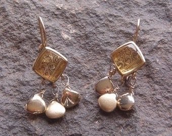 Liz Claiborne Vintage Earrings, Vintage LC Liz Claiborne Gold Tone Dangle Earrings, LC Fashion Earrings
