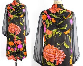 Vintage 1970s Floral Chiffon Sleeve Dress | Neon Floral Print Dress | Empire Waist Dress | S-M