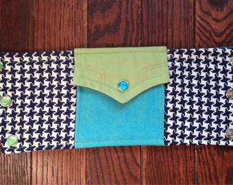 wrist wallet - pocket - houndstooth, teal, lime green - western shirt - pearl snaps - L