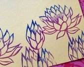 Lotus flower rubber stamp set // hand carbed and hand crafted