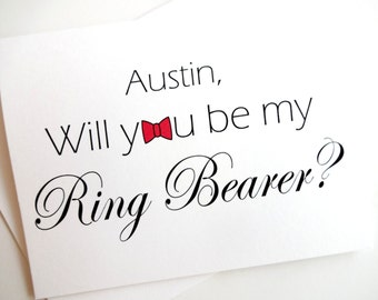 Will you be my Ring Bearer? Ring Bearer Card - Personalized