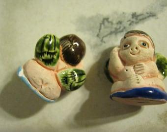 Ceramic Nude Cherub Beads