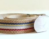 RESERVED FOR Y Vintage 1980's Woven Jute Cinch Belt with Striped Center, Modern Size 0 to 10, Extra Small to Medium