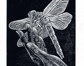Original Print Wood Engraving Woodcut Dragonfly on Hand Small Wall Art Light Touch