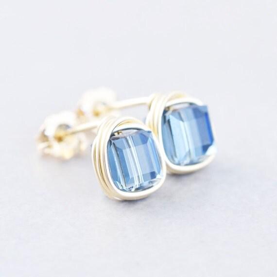 Crystal Posts, Swarovski Post Earrings, Denim Blue Cube Studs, Handmade