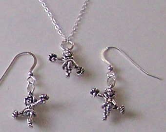 Sterling Silver CHEERLEADER Earrings - 3D