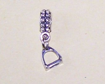 Sterling Saddle STIRRUP Bead Charm for All Name Brand Add a Bead Charm Bracelets - 3D