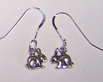 Sterling Silver 3D BUNNY RABBIT Earrings - French Earwires -  Pet, Totem