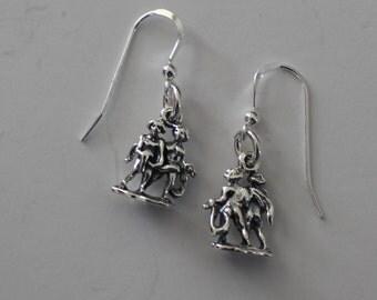 Sterling Silver 3D GEMINI Earrings - Horoscope, Twins