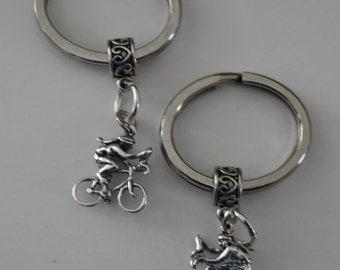 Sterling 3D GIRL RIDING BIKE Key Ring, Key Chain - Exercise, Sports, Hobby