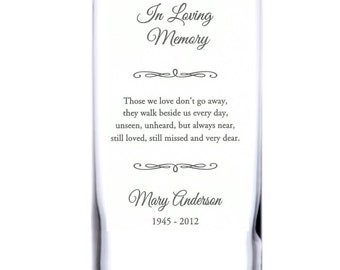 Personalized Engraved Memorial Glass Candle Holder/Floral Vase, Celebration of Life, Remembrance Sympathy Candle - Two sizes available (#10)