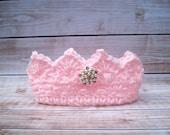 Princess Crown, Newborn Photo Prop, Baby Girl Crown, Crochet Baby Crown, Newborn Girl Crown, Infant Girl Crown, Pink Crown, Newborn Crown