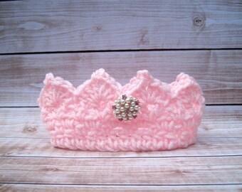 Baby Girl Princess Crown, Newborn Girl Tiara, Baby Girl Cake Smash, Infant Girl Crown, Birthday Crown, Halloween Costume, Pink