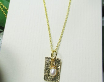 minimalist 14 karat gold filled textured metal with freshwater pearl by cra1nes on etsy