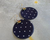 Fabric Earrings - Navy with White polka dots. Circular Disk shaped with a colorful glass flat bead and sterling silver earwires.