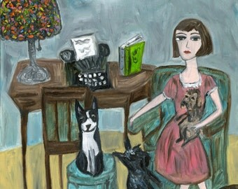 Dorothy Parker with her dogs.  Limited edition print by Vivienne Strauss.