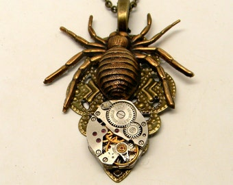 Steampunk pendant. Steampunk spider necklace.