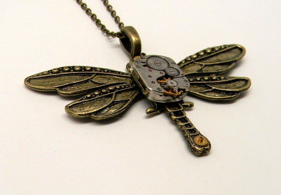 Large steampunk dragonfly necklace pendant.Steampunk by ...
