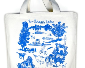 Seattle Green Lake Screen Print Canvas Tote Bag