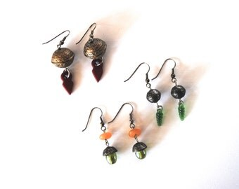 vintage earrings dangling earring metal and glass beads 1990s red green golden autumn jewelry gift collection