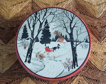 Vintage Black Red and White Sleigh Ride Rusty Christmas Tin