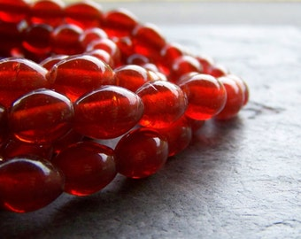 Vintage Bead-Vintage Red Glass Bead-Hand Made Red Orange Organic Bohemian Gypsy Tribal Autumn Glass Oval Beads-1 Full Strand