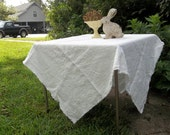 READY to SHIP White Linen Tablecloth Handmade Washed Linen Tablecloth 54 x 56 Wedding Decor Table Settings French Country Custom Order