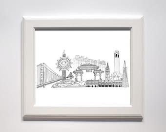 Holiday Sale // San Francisco Landmarks Print