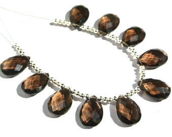 10Pcs 5 Matched Pair 15x10mm AAA Genuine Smoky Quartz Faceted Pear Briolettes Finest Quality Wholesale Price