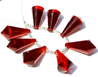 Set Of 8Pcs AAA Red Quartz Faceted Fancy Chandelier Briolette Size 21x12.5mm 4 Match Pair Jewelry Supplies